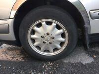 Mercedes 15 inch alloys and Bridgestone tyres