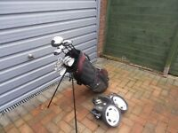 Ben Sayers Golf Clubs including drivers, stand and Dunlop Trolley