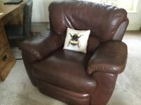Armchair, recliner, leather.