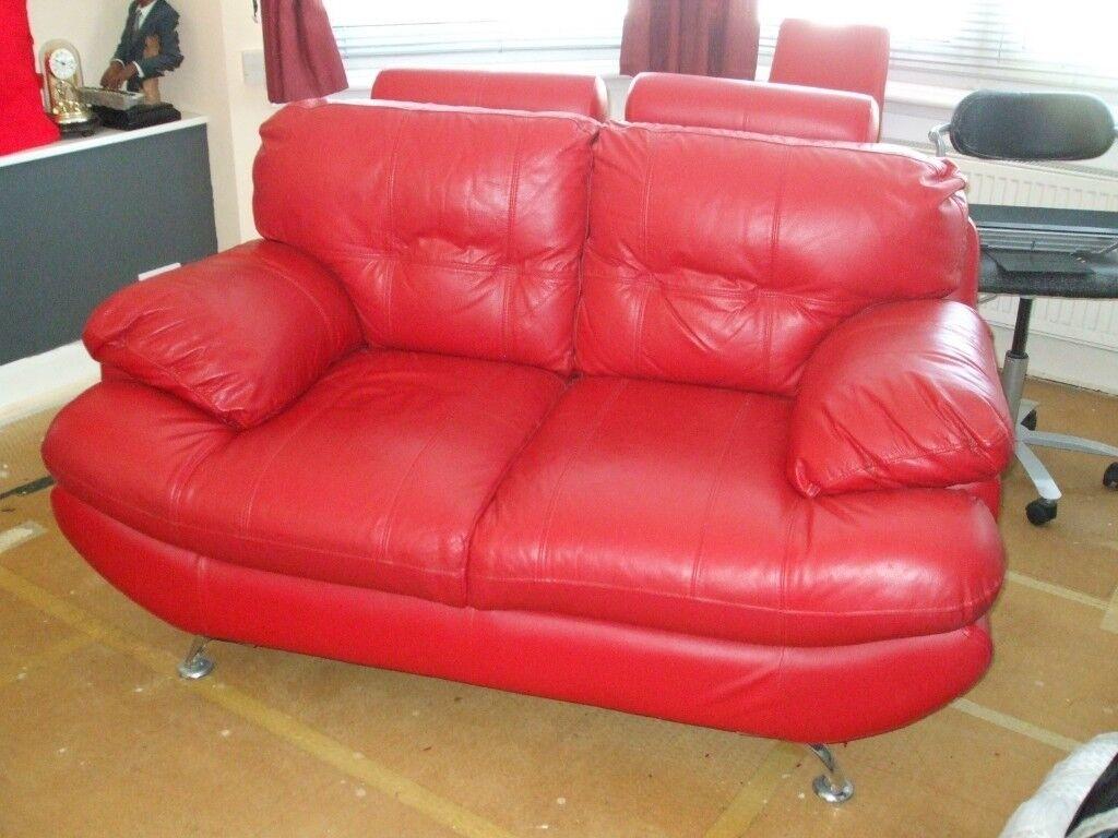Red Vinyl Sofa 2 Seater