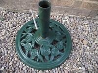 cast iron sun shade umberella parrasol base 440mm base x 50mm diameter pole width bargain £25ono