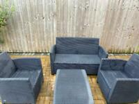 Dark Grey Rattan Furniture Set