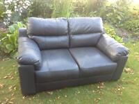 Black and brown two 2 seater sofa sofas