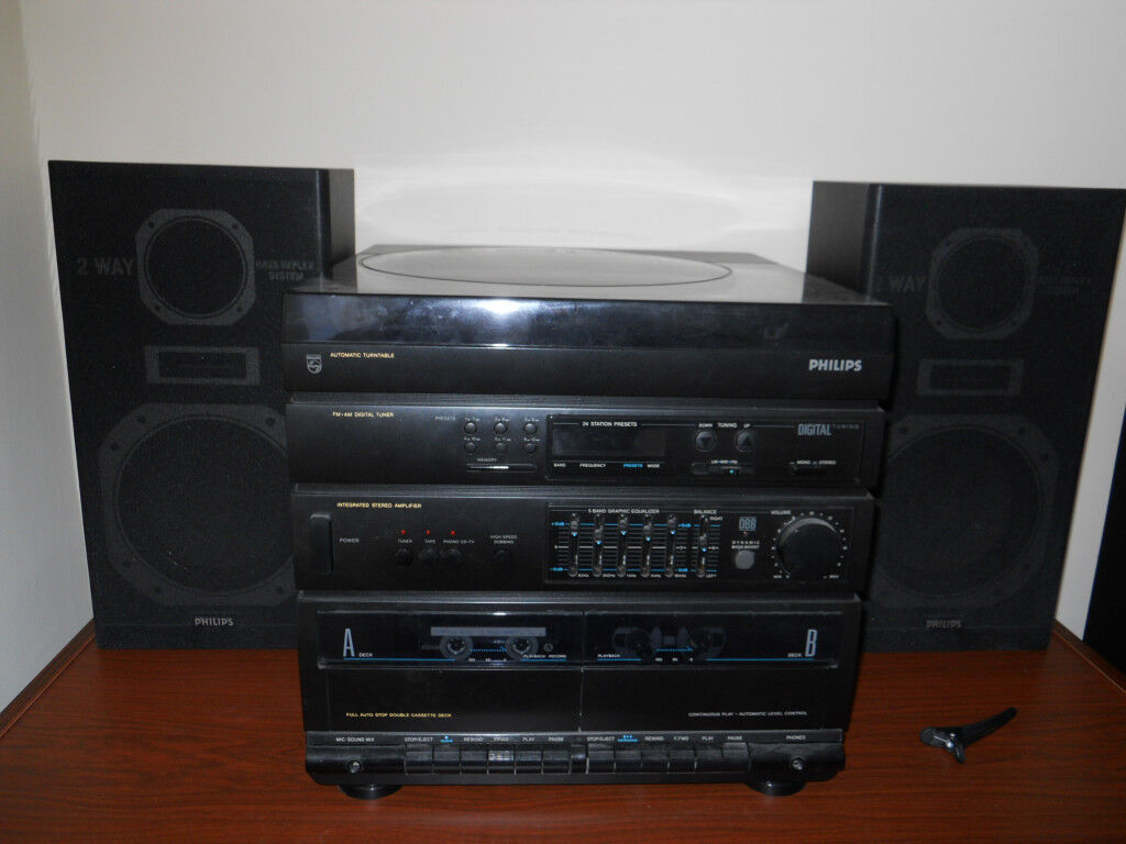 Philips Midi Stereo Music System With Turntable In