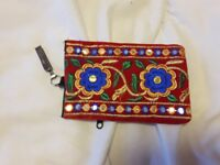 Kashmiri Hand Embroidered Mobile Phone/Reading Glass Case (with rear zipped pocket for cards/coins)
