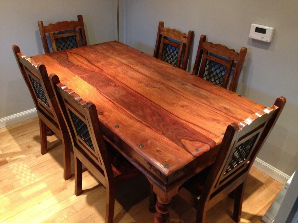 Dark wood dining table and 6 chairs for sale united for Black wood dining table