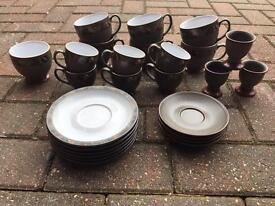 DENBY TEA SET PLATES CUPS VGC