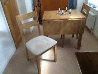 Drop leave table & 2 dining chairs - suede covers - beige - vgc