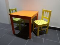Painted Ikea kids table and chairs