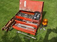 metal cantilever toolbox with various sockets and attachments condition used
