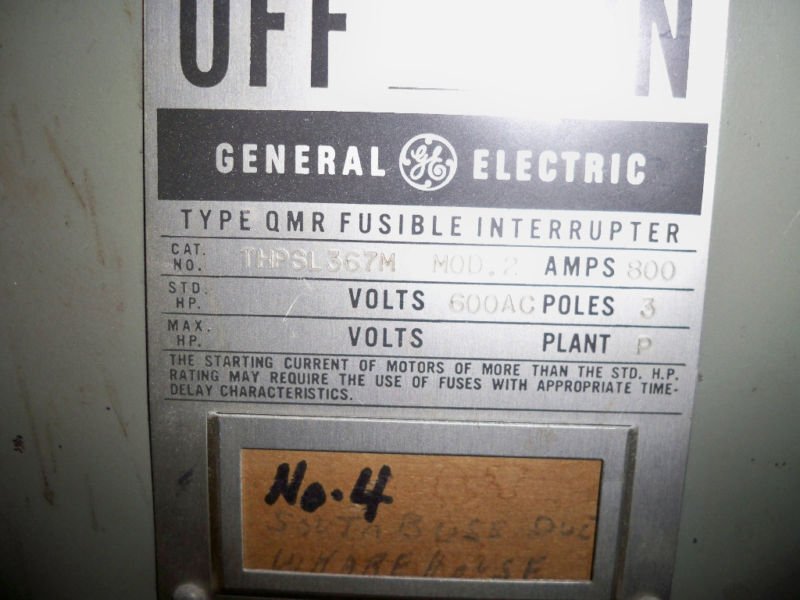 Ge Thpsl367m Mod.2 800a 3p 600v Fused Main Panel Switch