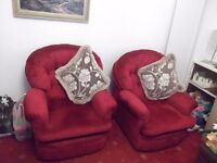 3 seater red sofa and 2 chairs £90