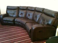 large sofa, brown, end recliners