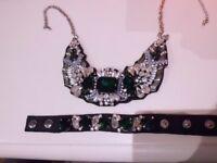 M&S diamonte, pearl, emerald effect necklace & bracelet