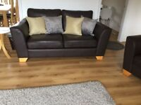 Marks and Spencer brown leather sofa and chair! Will split!