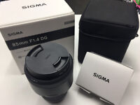 Sigma 85mm f1.4 Art Lens, Canon fit + Filter and USB Dock