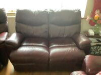 Real leather Reclining two seater sofa or all three