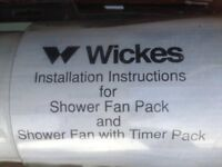 Shower fan pack/shower fan with timer pack (from Wickes DIY store)