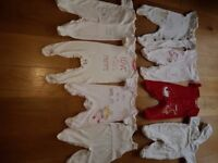 8 ITEMS BUNDLE of GIRLS SLEEPSUITS 3-6,6-9months- ZIP ZAP, Mothercare, Matalan , excellent condition