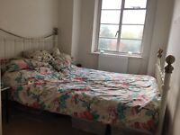 Antique style double bed frame and mattress