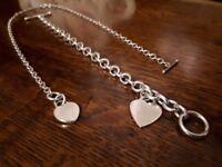 Sterling Silver T Bar Necklace and Bracelet