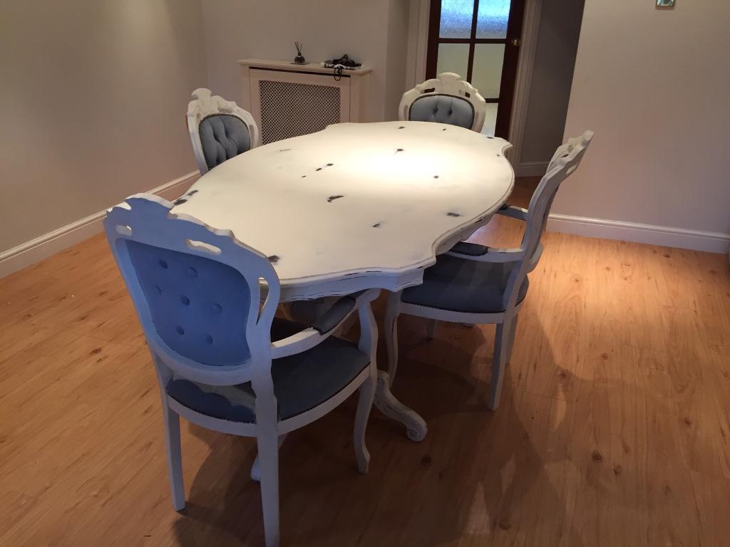 Italian Walnut Dining Table Beautiful Italian Walnut Dining Table And 4 Chairs Shabby Chic