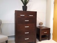 Dark Oak 6 Drawer Tall Boy and Matching Bedside Drawer. Real Wood Furniture