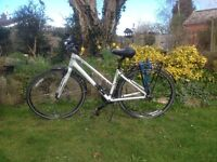 Giant Ladies Escape 2 Hybrid Bike, White, with luggage rack and stand