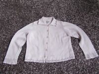PER UNA CARDIGAN/KNITTED JACKET STYLE PALE PINK SIZE 18 CROCHET DETAIL