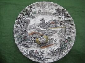 Vintage Yorkshire SR Ironstone Genuine Hand Engraved Decorative Wall Plate Made in Staffordshire