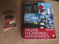 Higher Engineering Mathematics by John Bird and Game workshop battle dice great condition