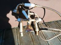 Antique effect Gold Bristan bath taps with shower head and cradle in gold
