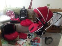 Silver Cross Surf pushchair, car seat, isofix and accessories