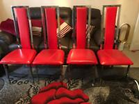 4 chairs red for sale