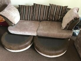 sofa bed with two footstools and two three seater sofas matress is in a excellant condition