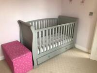 Sleigh cot bed, shabby chic in grey
