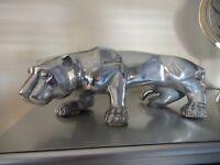 Large lovely aluminium modern ornamental cat. 55cm long x 23cm high. .Great condition.