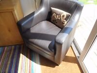 Brown leather effect bucket chair