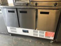 Commercial 3 door stainless steel prep fridge catering equipment restaurant hotels pubs