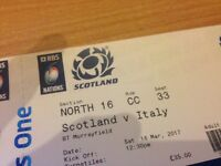 Scotland v Italy 6 Nations Ticket Saturday 18th March 12.30 Murrayfield