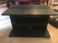 TV Stand Cabinet Black Wood