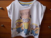 T Shirt/top (cropped) 'MINIONS' Age 9-10 (fitted 7-8 year old)