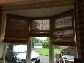 Beautiful Habitat light oak coloured quality wooden roman blinds - 3 blinds