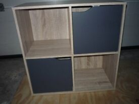SMALL SQUARE CUBED STORAGE/DISPLAY UNIT GREY DOORS