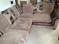 Corner sofa and sofa pouffe