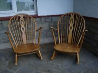 TWO LARGE OLD PINE ROCKING CHAIRS ONLY £20 EACH FOR QUICK SALE