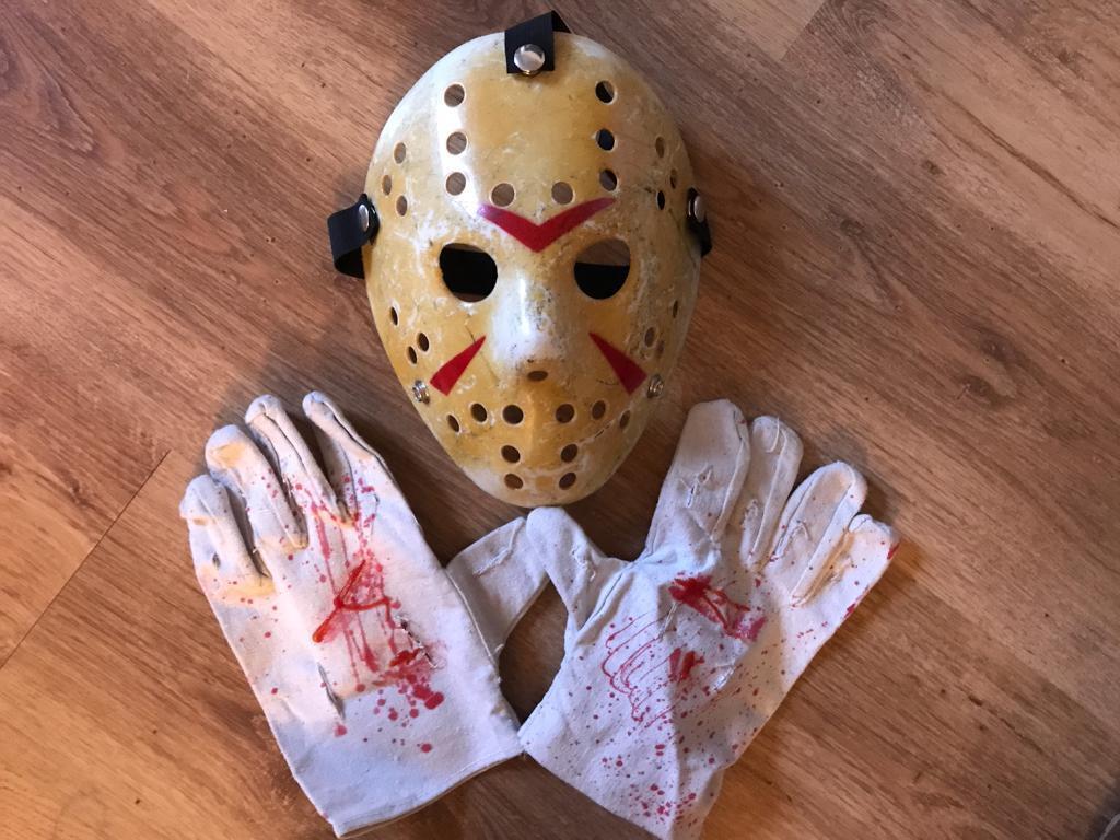 "Halloween hand painted Hockey Mask and gloves""Jason"""