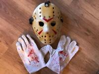 "Halloween hand painted Hockey Mask and gloves""Jason"""