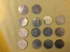 Several 50 pence collectibles
