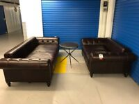 OFFER! NEW ! Ex-Display ! Designer made chesterfield style luxurious leather sofas 3 + 2 ! RRP £2648